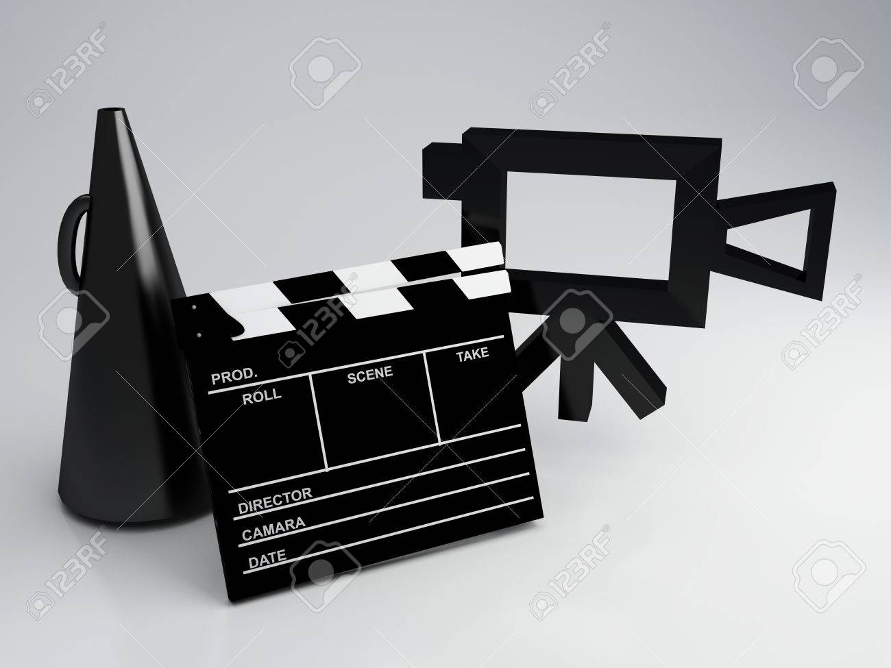 Clapper board and old camera 3d illustration Stock Photo - 25628765