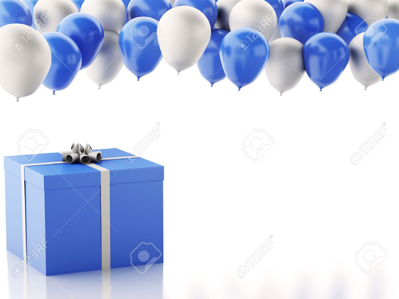 3d renderer illustration birthday gift box with blue and white birthday gift box with blue and white baloons isolated white background stock negle Images