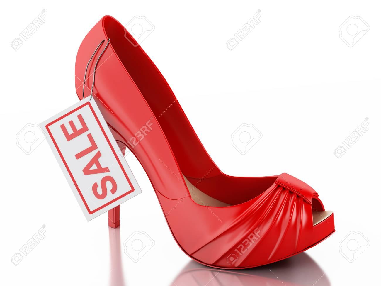 3D illustratie. Dames hoge hak schoenen. Verkoop concept. Geïsoleerde witte achtergrond