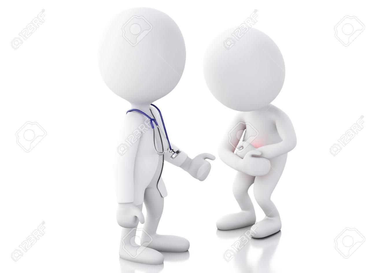 3d Gente Blanca Médico Con Estetoscopio Que Controla A Las Personas ...