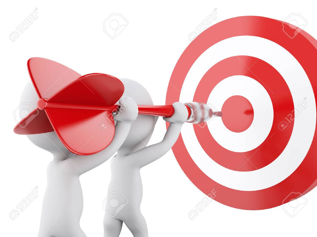 3d renderer image. White people with dart and target. Success in business. Isolated white background - 46391590