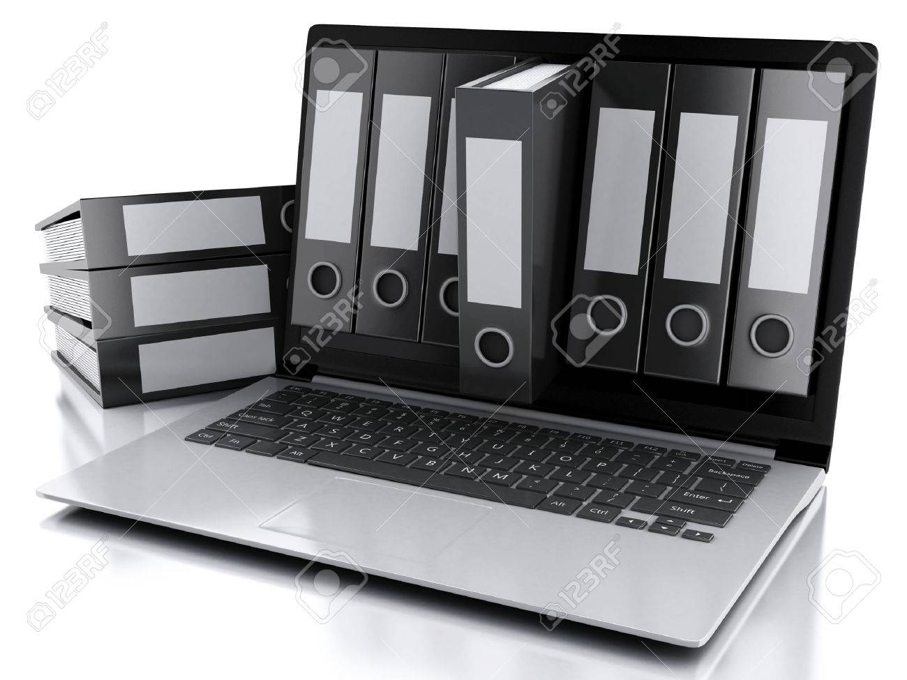 3d illustration. Archive concept. Laptop and files on isolated white background - 51684077