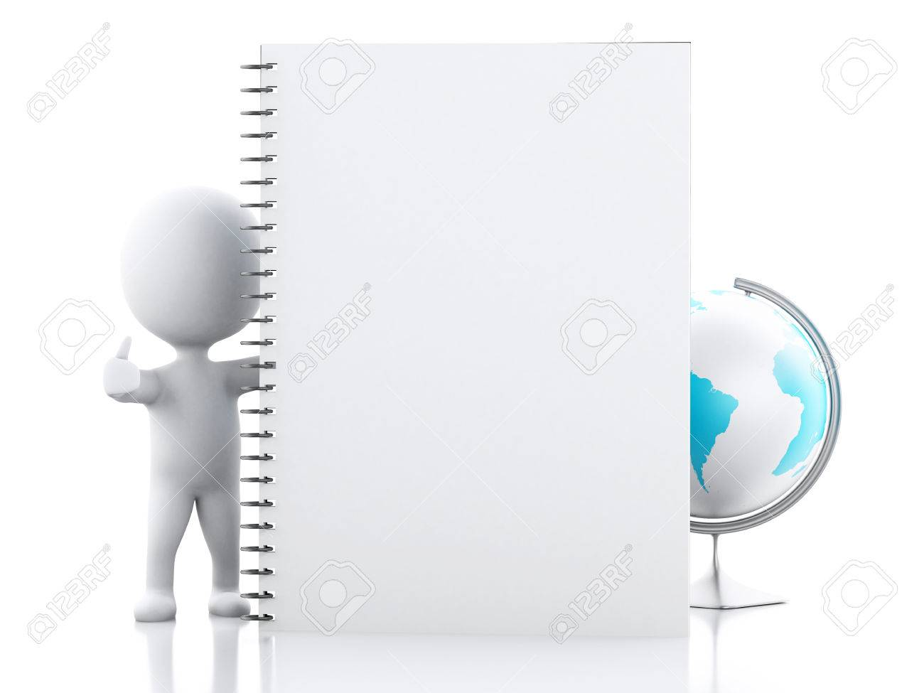 3D Illustration. White People With Notepad Page, Books And Desk ...
