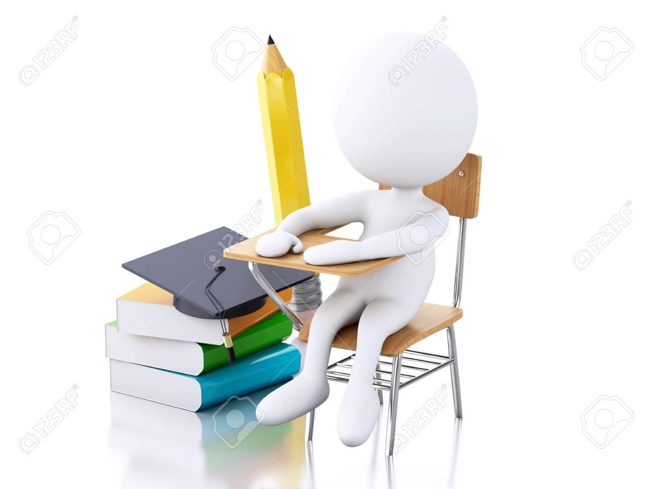 3d Abbildung Weiße Leute Mit Schulbank Bleistift Stuhl Und