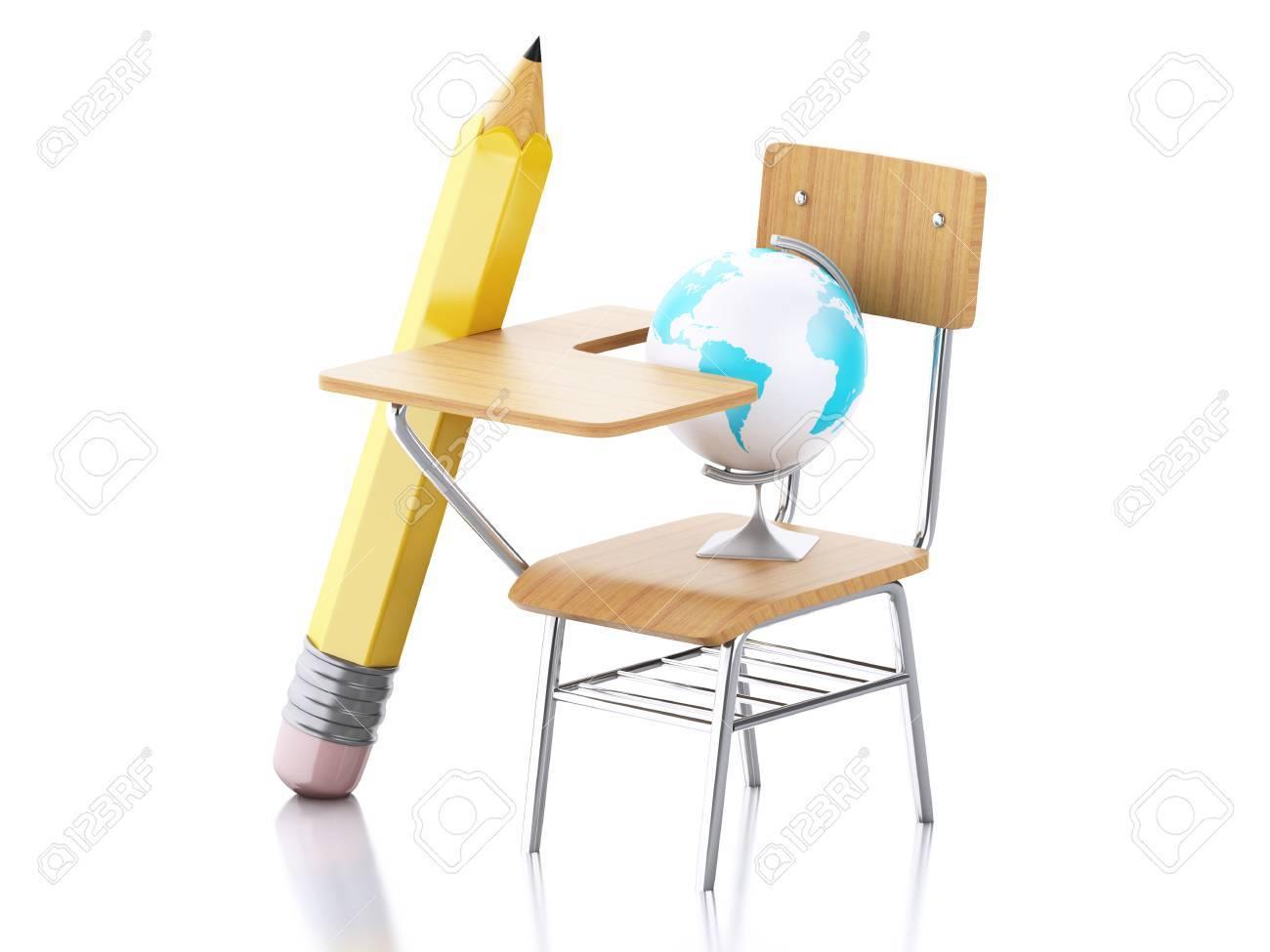 Abbildung 3d Schultisch Bleistift Stuhl Und Globus Education