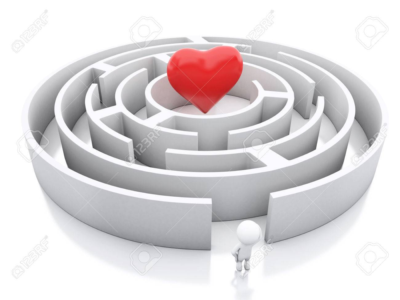 3d Renderer Image White People With A Maze And A Heart In Middle