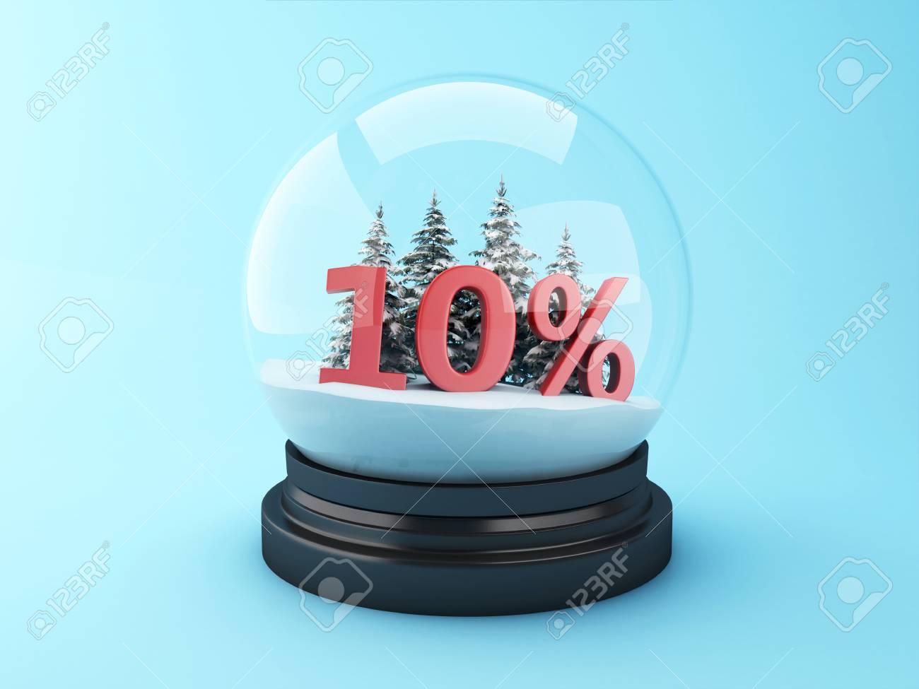3D-Renderer Bild. Schneekugel Mit Bäumen Und Roten 10% Rabatt ...