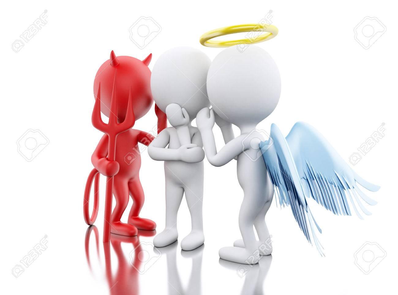 3d Illustratie Witte Mensen Contemplation Een Besluit Met Engel En Duivel Geïsoleerde Witte Achtergrond