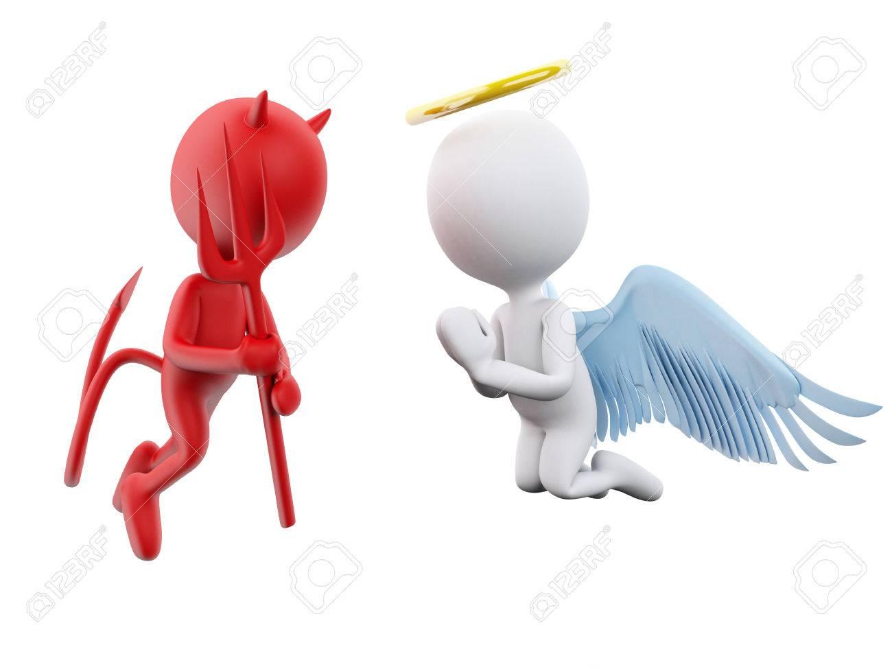 3d Illustratie Engel En Duivel Geïsoleerde Witte Achtergrond