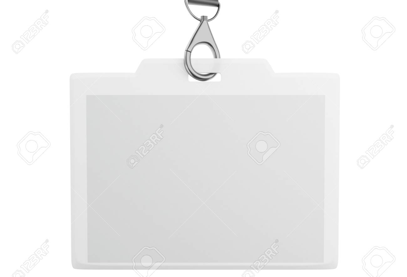 3d illustration white blank id badge with place for photo and