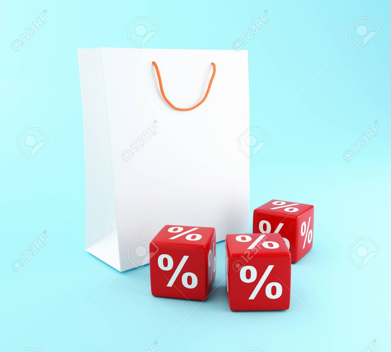 5f7944e4f05 3D Illustration. Shopping bag and red Discount icons. Sale concept. Stock  Illustration -
