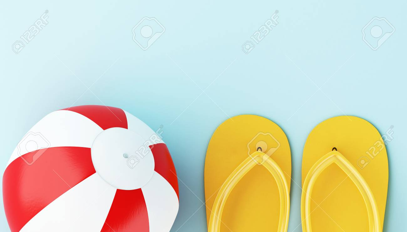 205834168 Flip flops and beach ball on blue background. Minimal summer concept.
