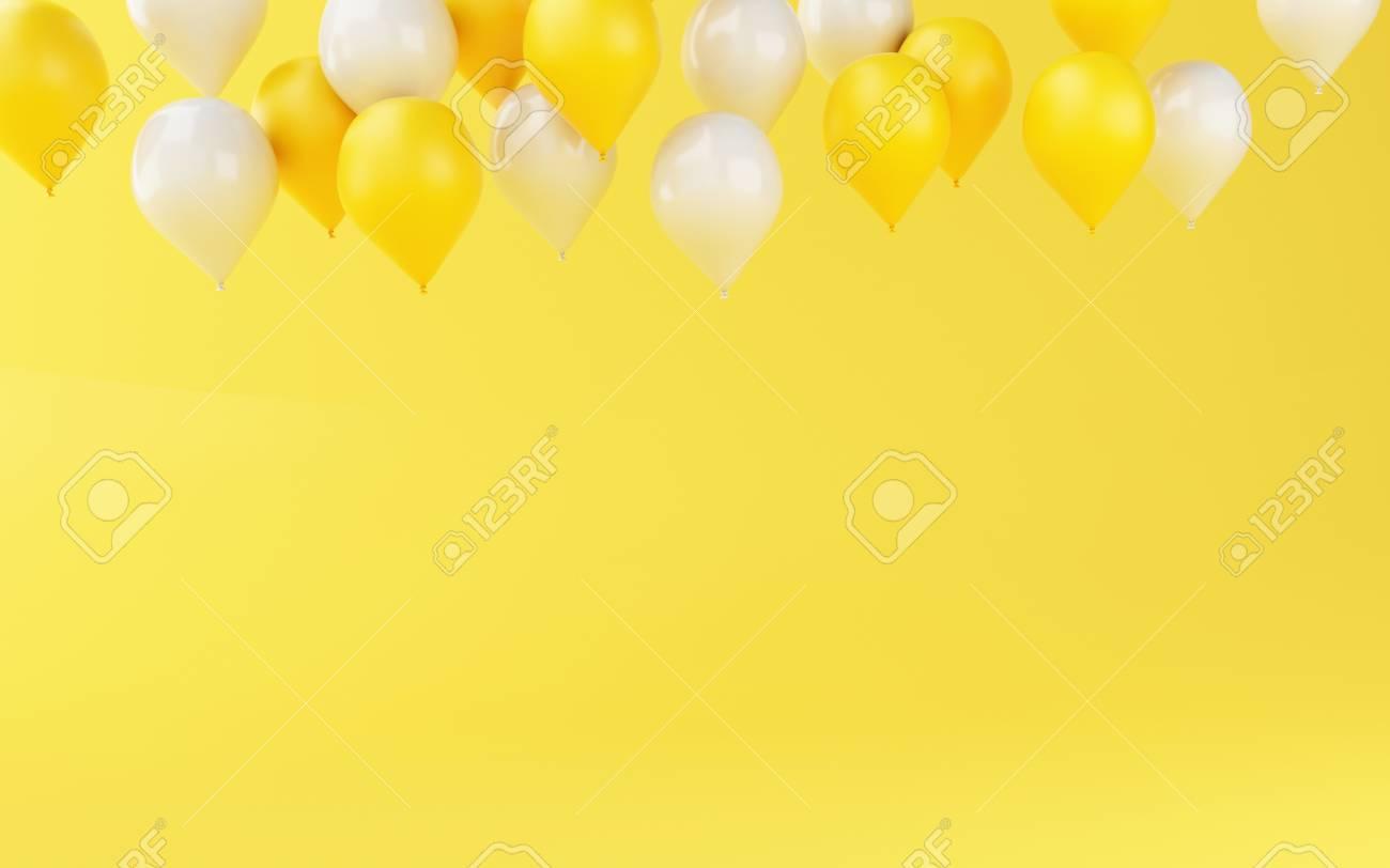 3d Illustration Balloons Birthday Party Decoration On Yellow