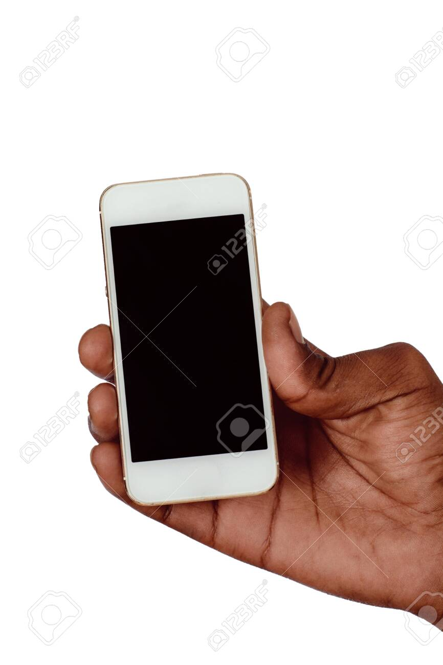 Male hand holding smartphone with blank screen. Isolated on white background. - 121798313