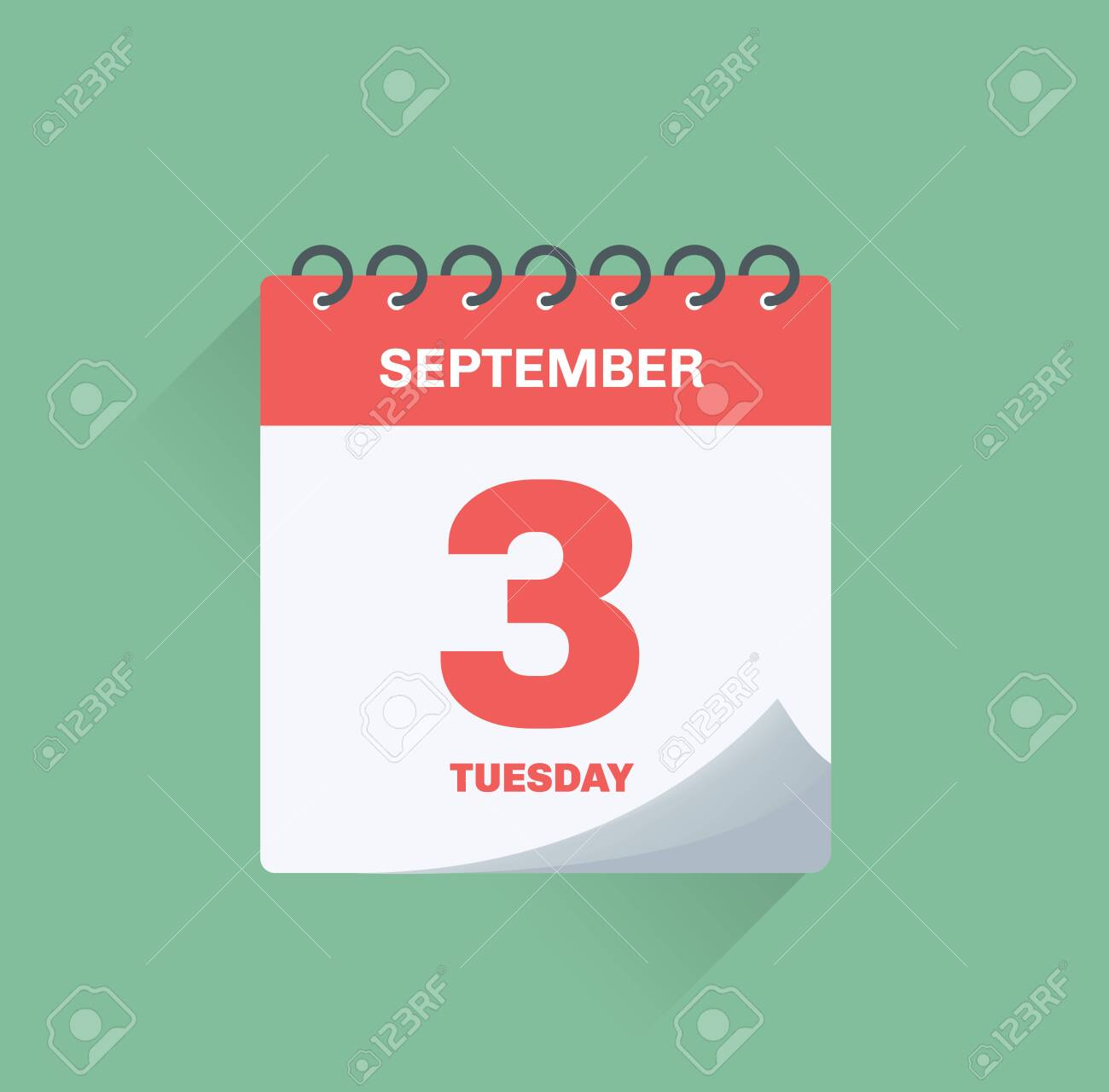 Vector illustration. Day calendar with date September 3. - 128732230