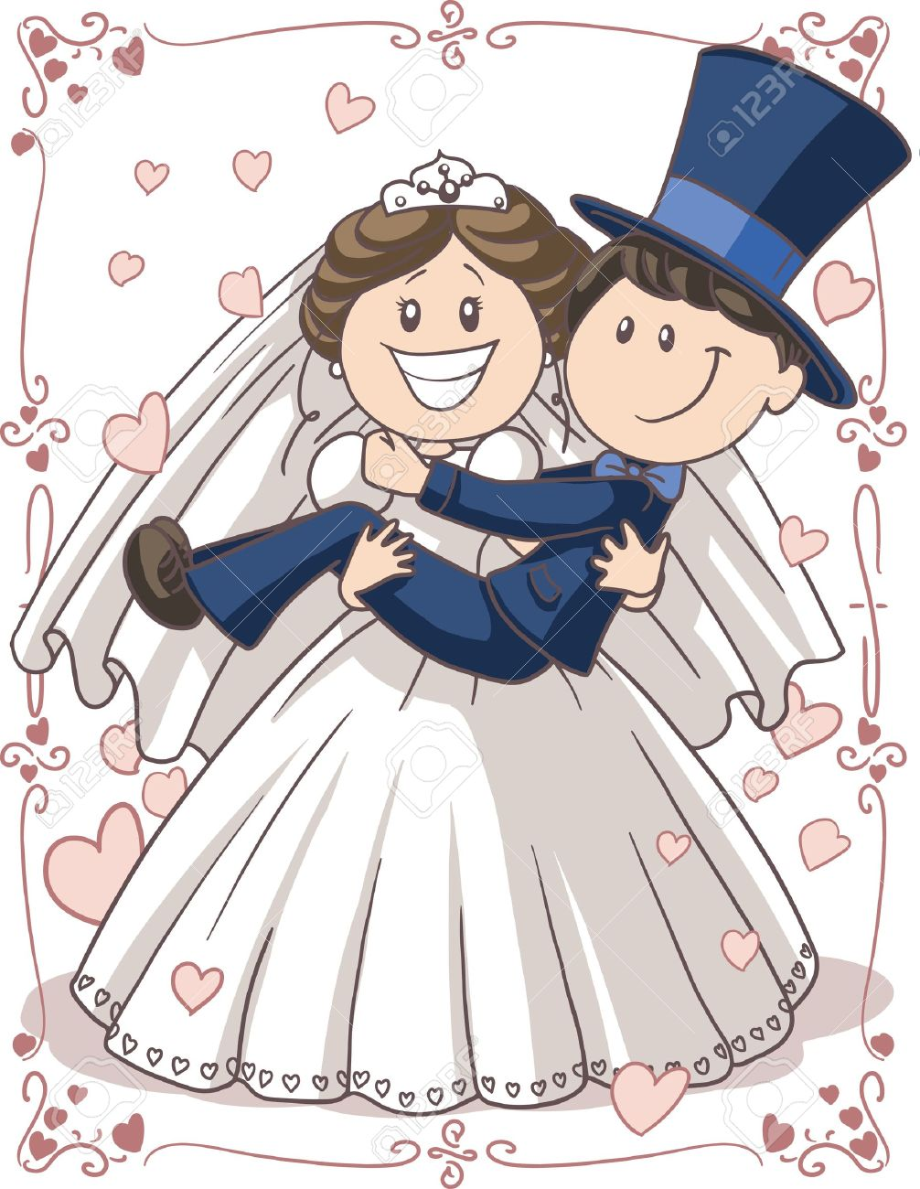 Cartoon Bride And Groom Wedding Invitations Cartoon of Bride And Groom