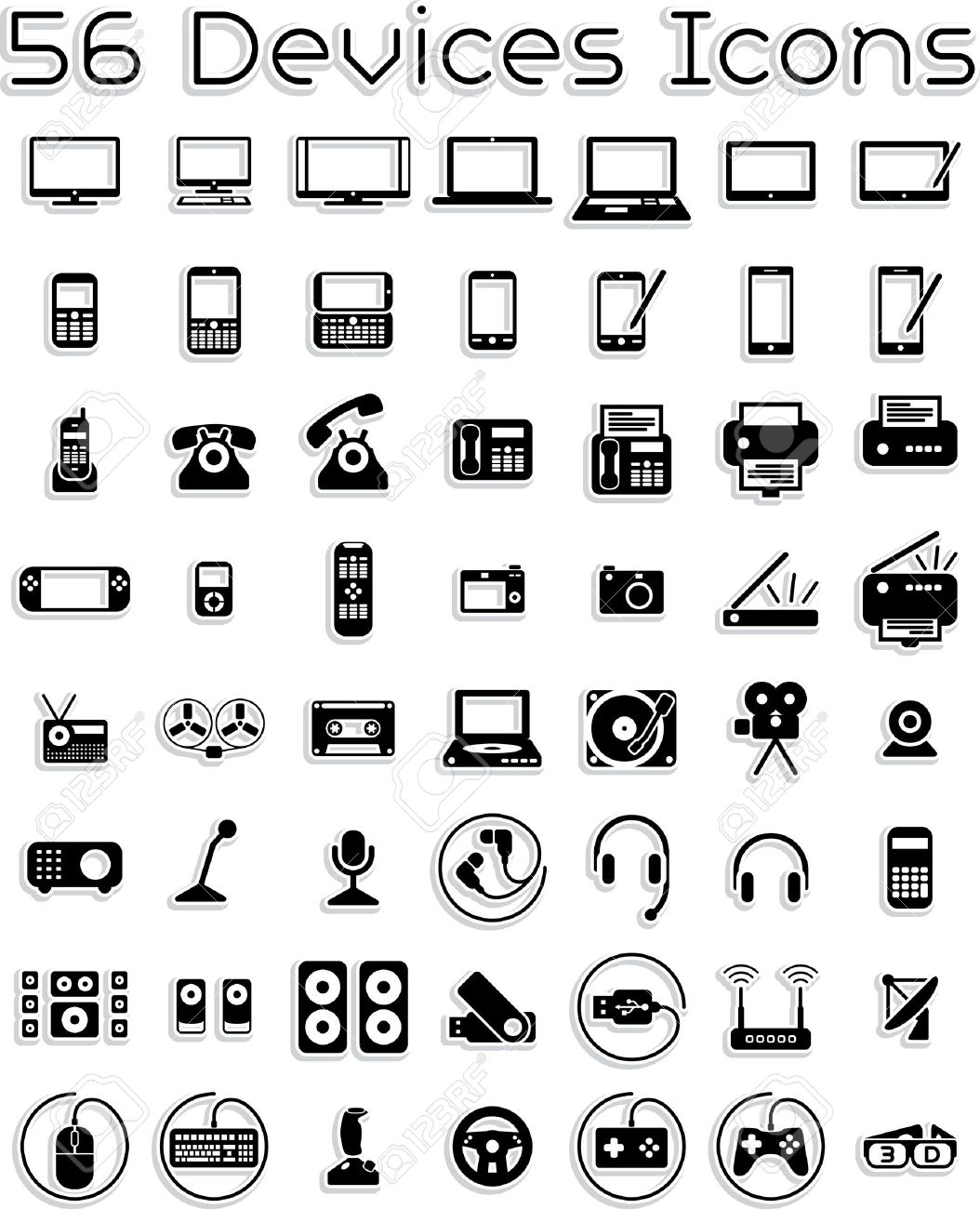 Elektronische Geräte - Vector Icons Set Lizenzfrei Nutzbare ...