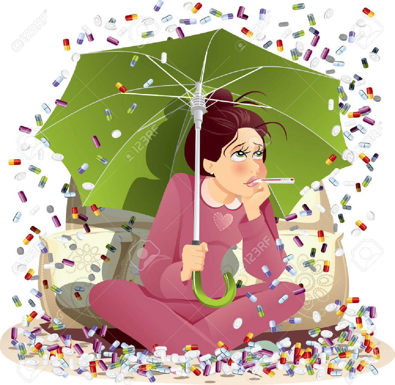 Sick Girl Bombarded with Medication - Vector Illustration - 23097618
