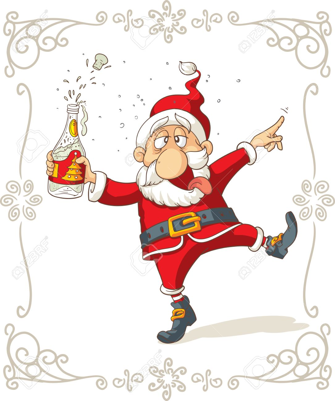 Drunk Santa Dancing Cartoon Royalty Free Cliparts Vectors And