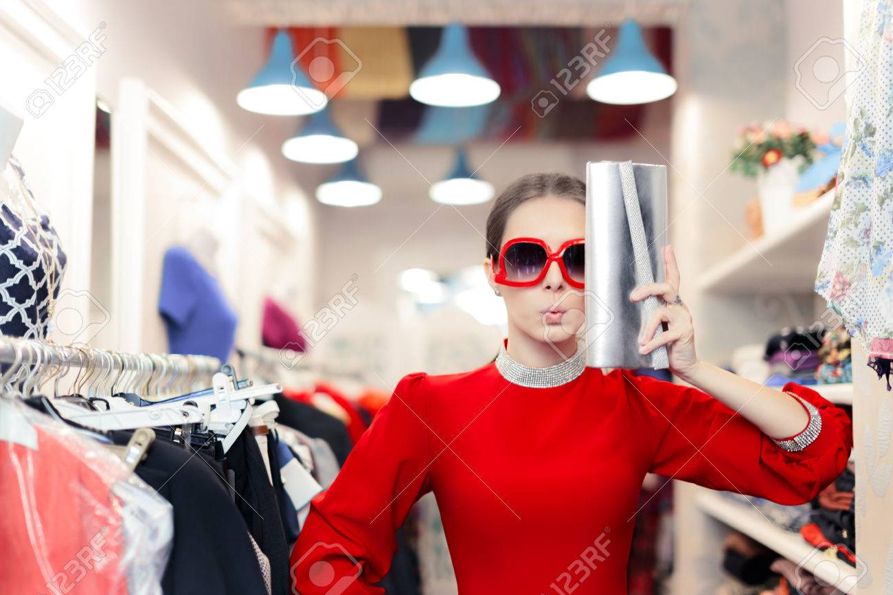 Funny Fashion Woman In Red Dress With Big Glasses And Shinny Stock Photo Picture And Royalty Free Image Image 47199227