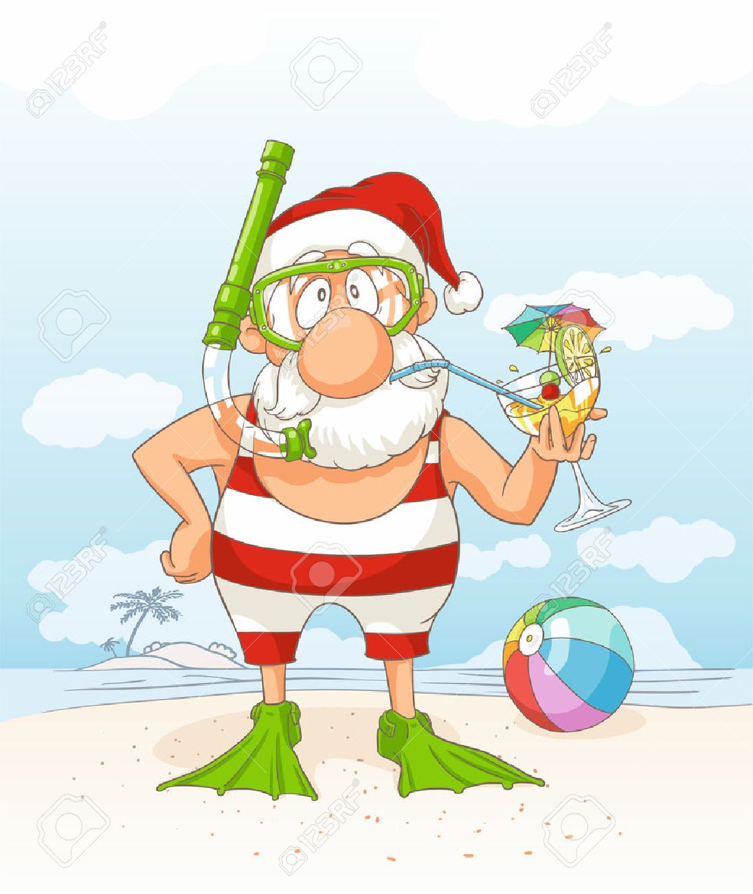 santa claus on summer holiday vector cartoon stock vector 47518647
