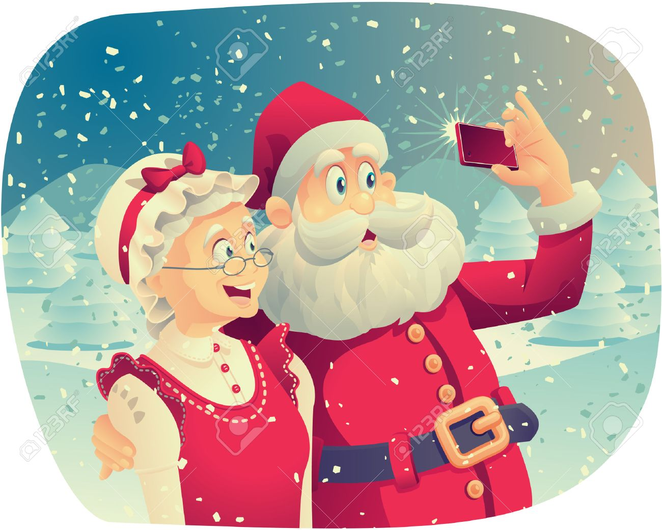 Santa Claus And Mrs Claus Taking A Photo Together Stock Vector 48284421