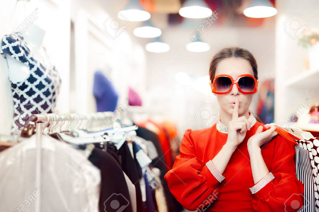 Shopping with Big Sunglasses Woman Keeping a Secret - 64861998