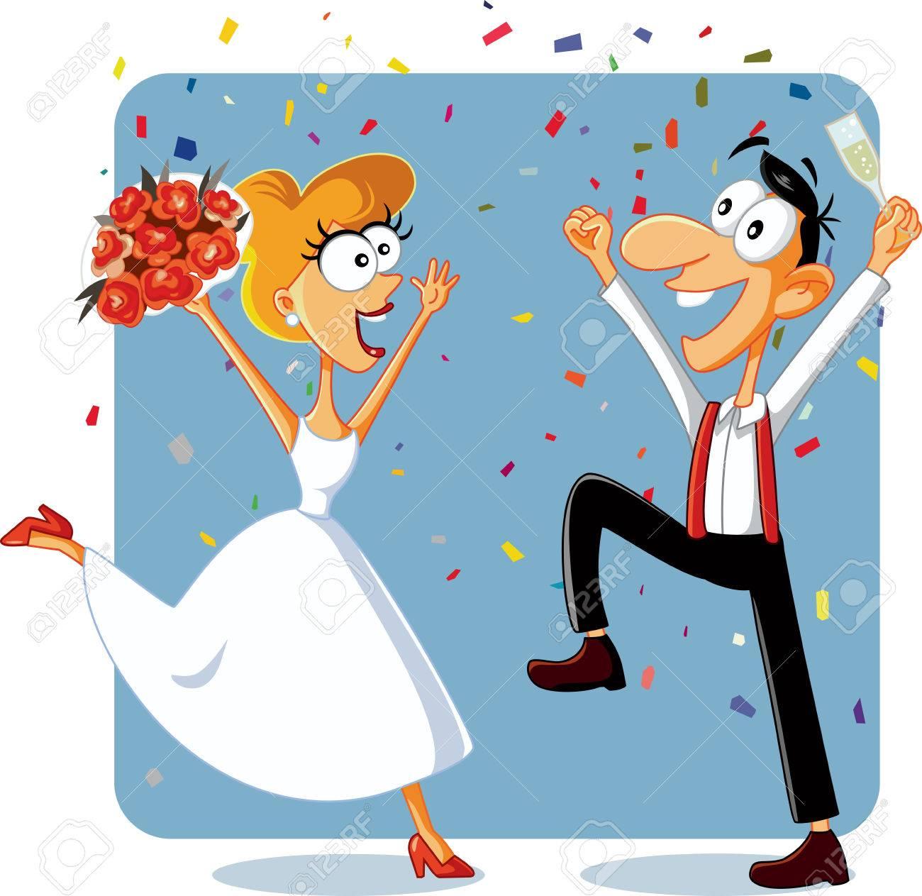Lustige Braut Und Brautigam Tanzen An Ihrem Hochzeit Vektor