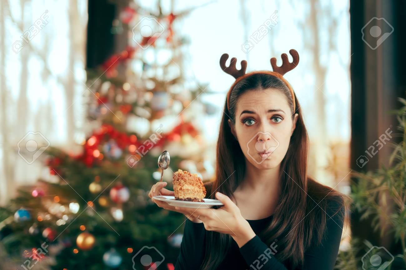 Picky Girl Hating The Cake at Christmas Dinner Party - 88622432