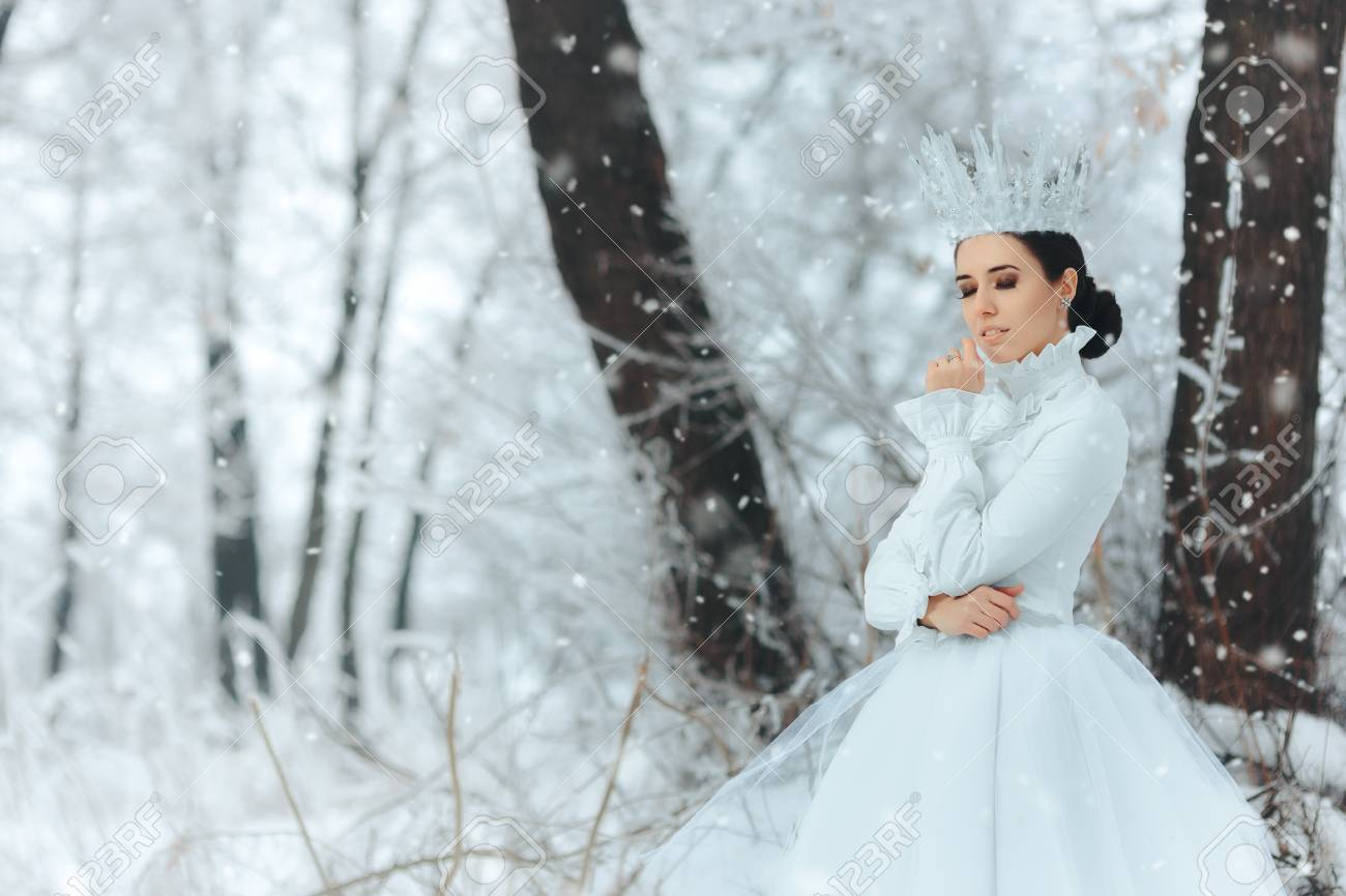 Beautiful Ice Queen In Winter Wonderland Stock Photo, Picture And ...