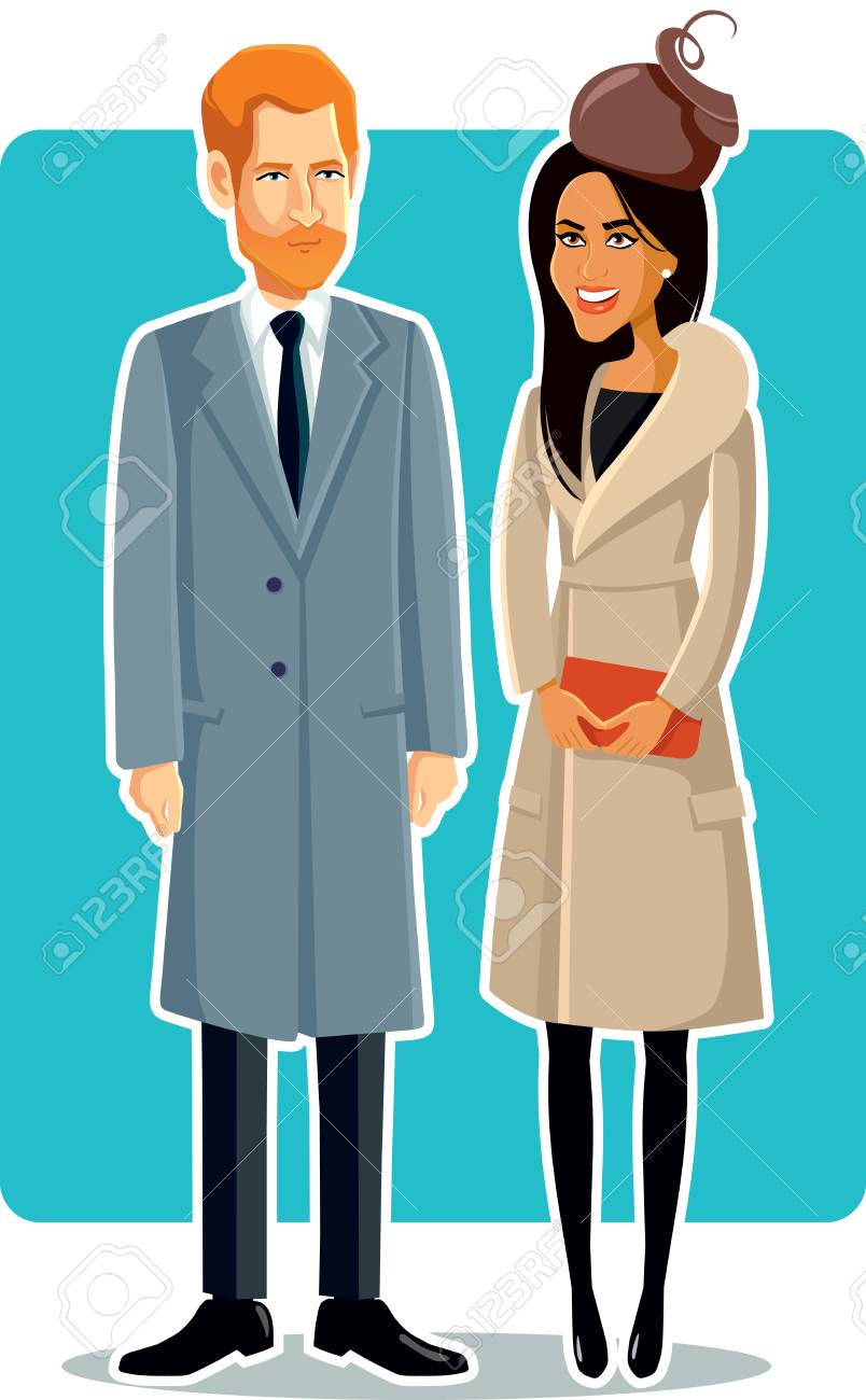 Meghan Markle and Prince Harry Editorial Illustration - 94611483