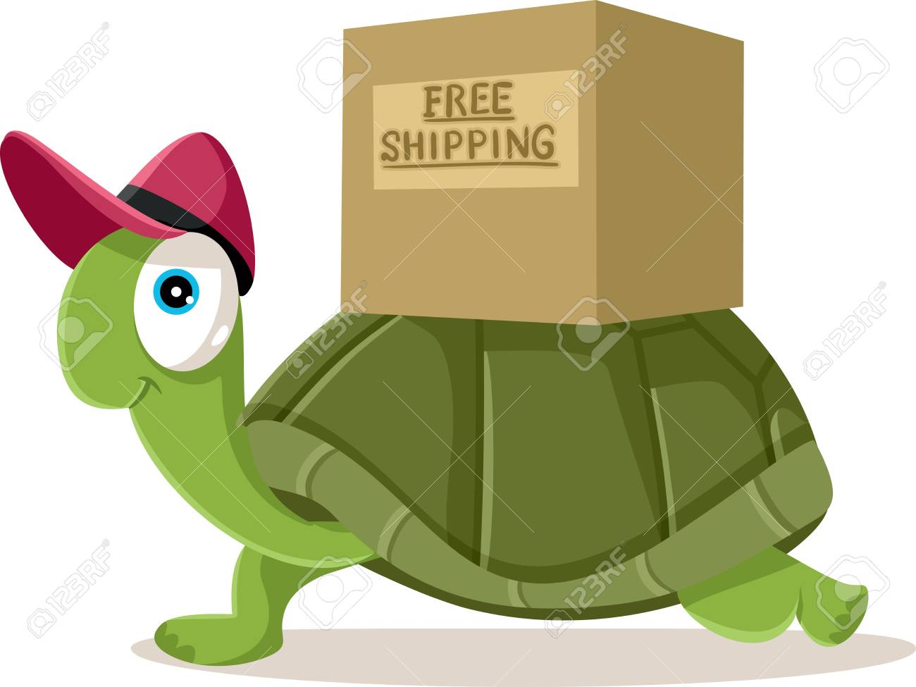 Funny Courier Turtle Free Shipping Concept Vector Cartoon - 96631144