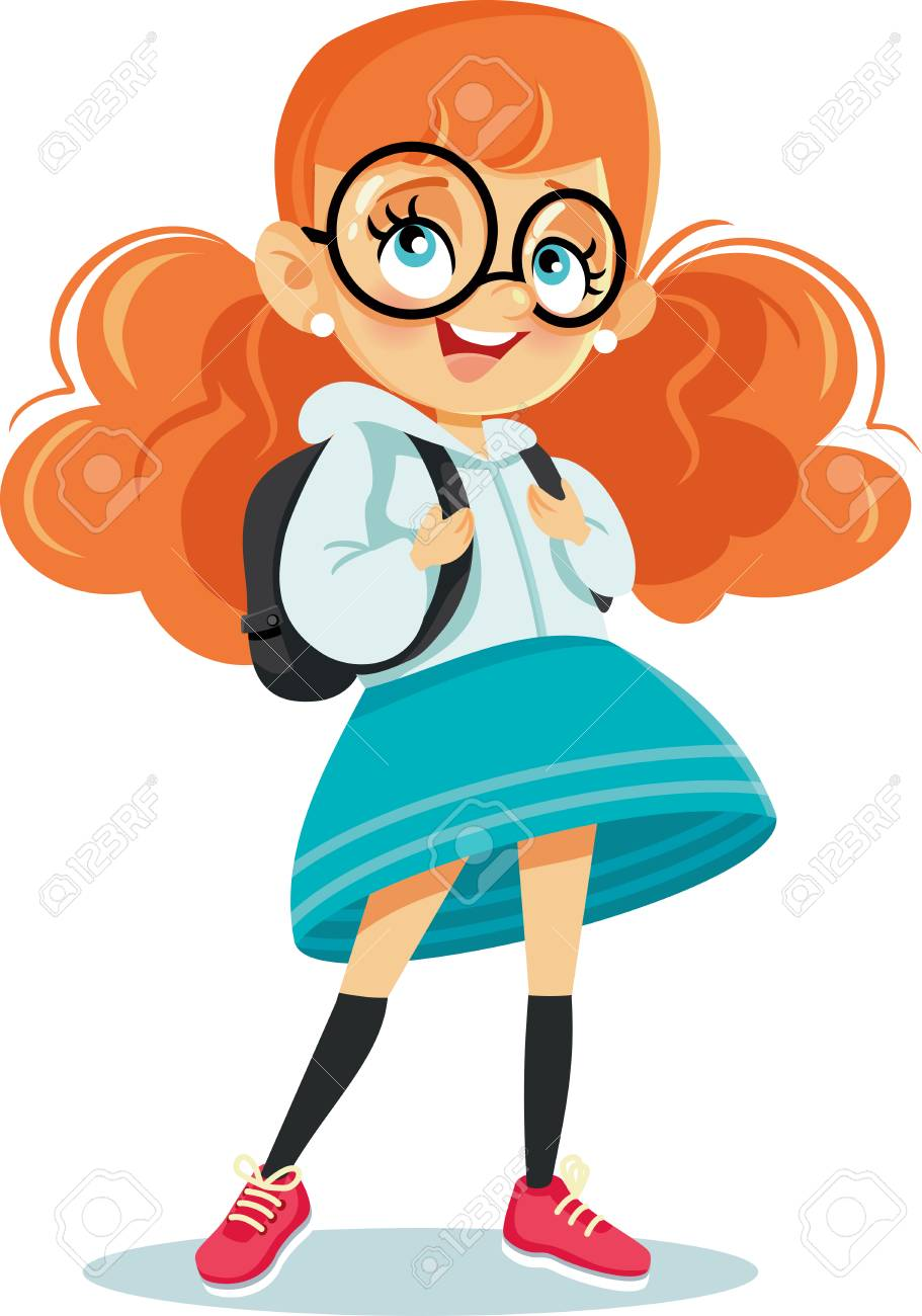 Cute School Girl With Backpack Vector Cartoon Royalty Free Cliparts ... da223a151d8cb