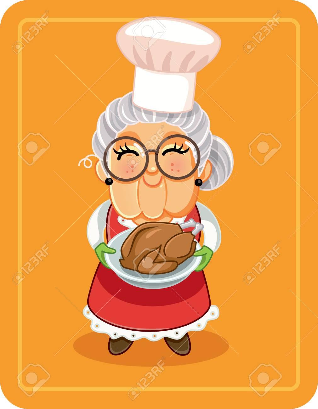 Grandma Holding Roasted Turkey Vector Illustration - 112444530