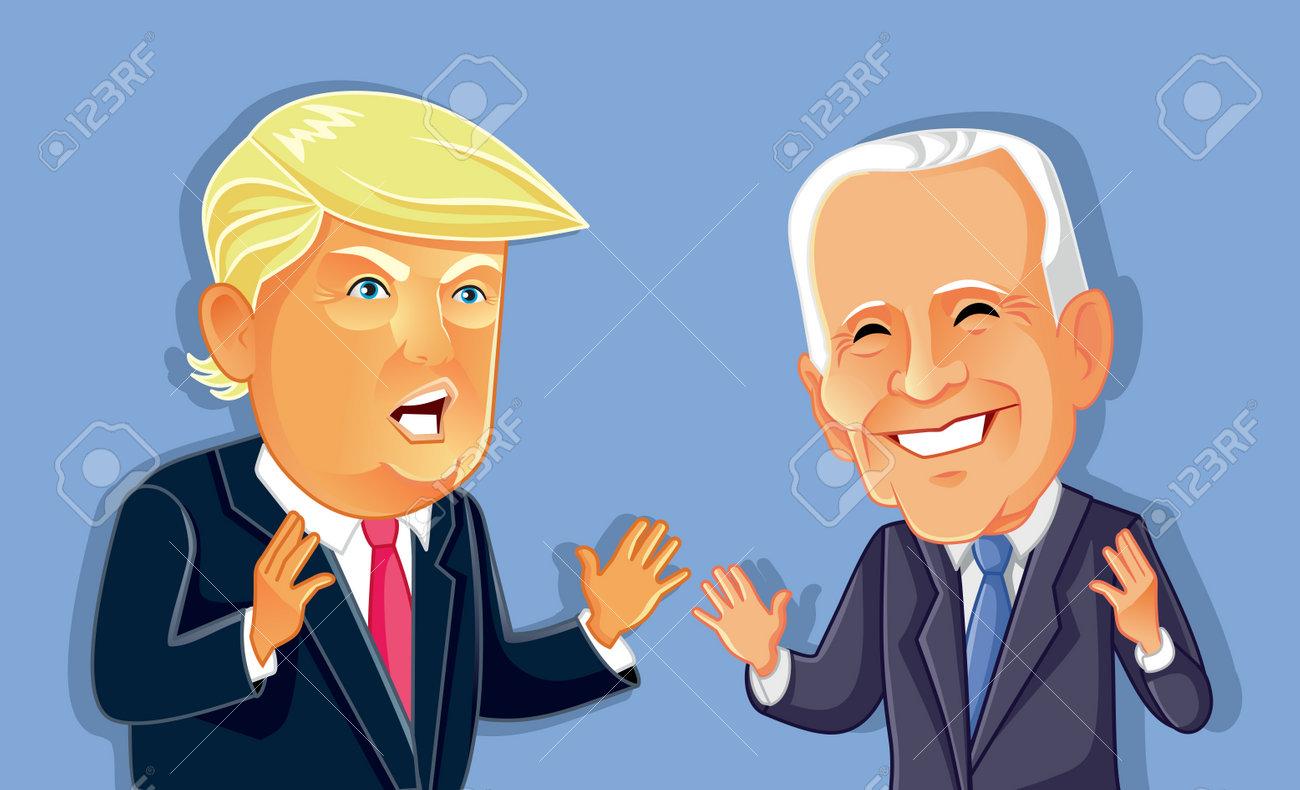 Donald Trump Versus Joe Biden Vector Caricature - 146390351