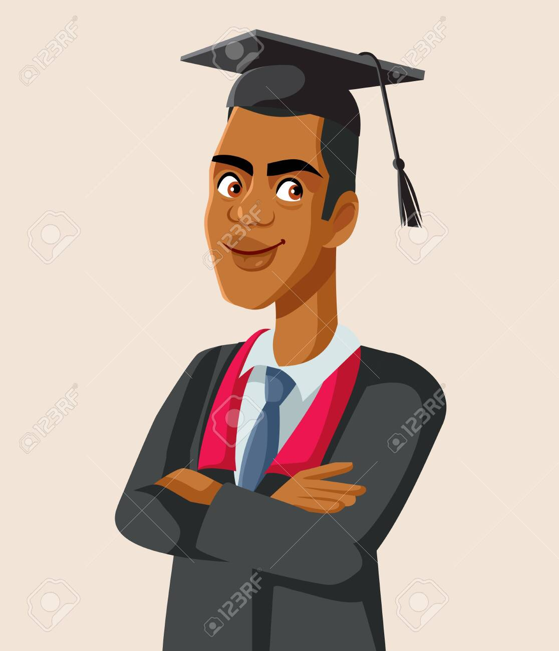 Afro American Male Graduate Student Vector - 149339181
