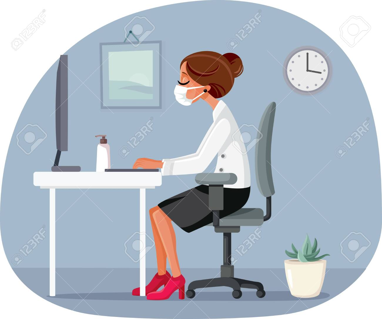 Woman Working in the Office Wearing Medical Face Mask - 150354660