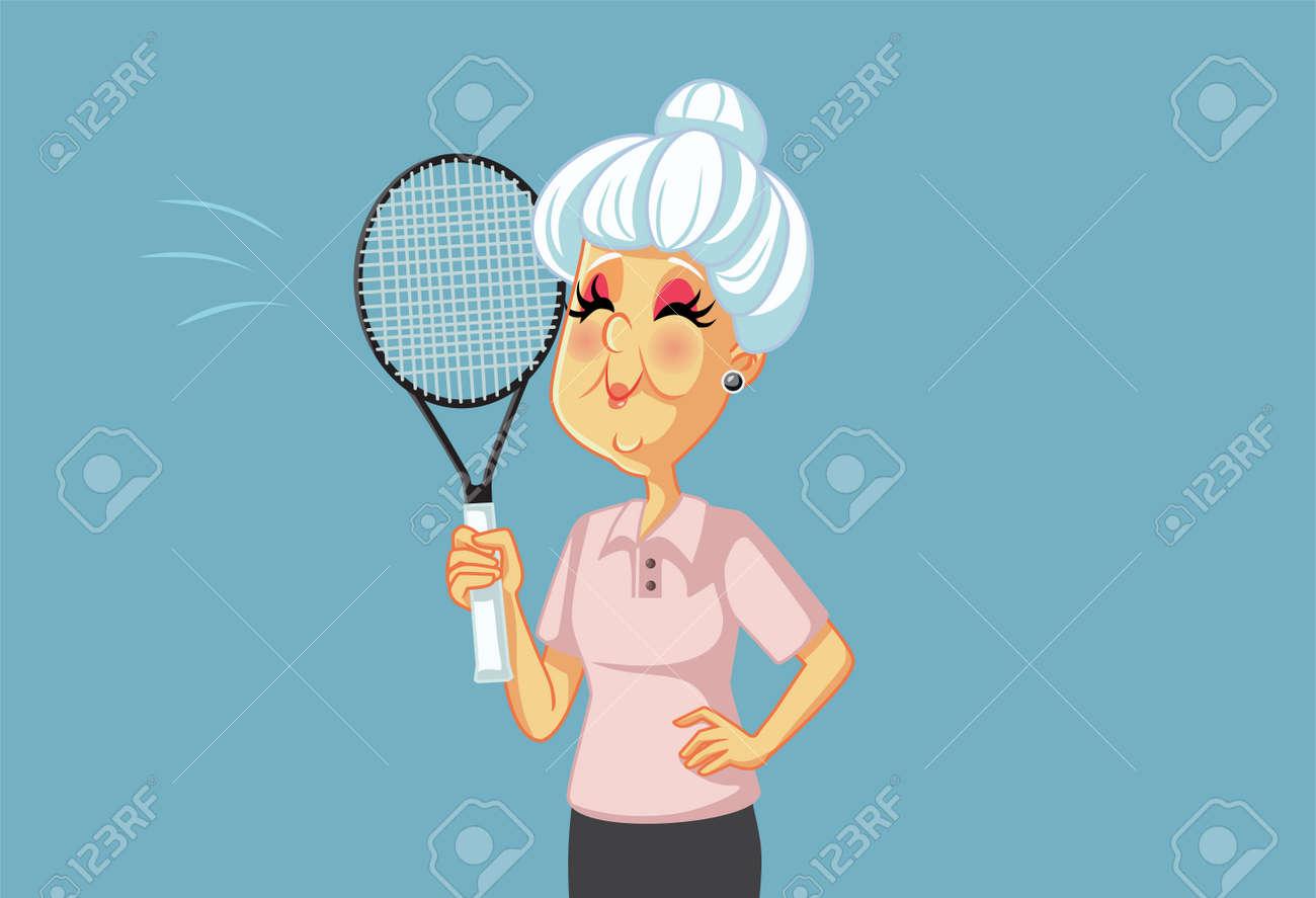Sporty Grandma Playing Tennis Holding Racket - 171153837