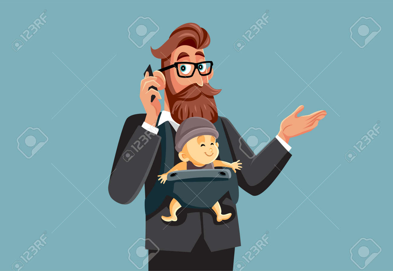 Busy Multitasking Father and Businessman Holding His Baby - 171206891