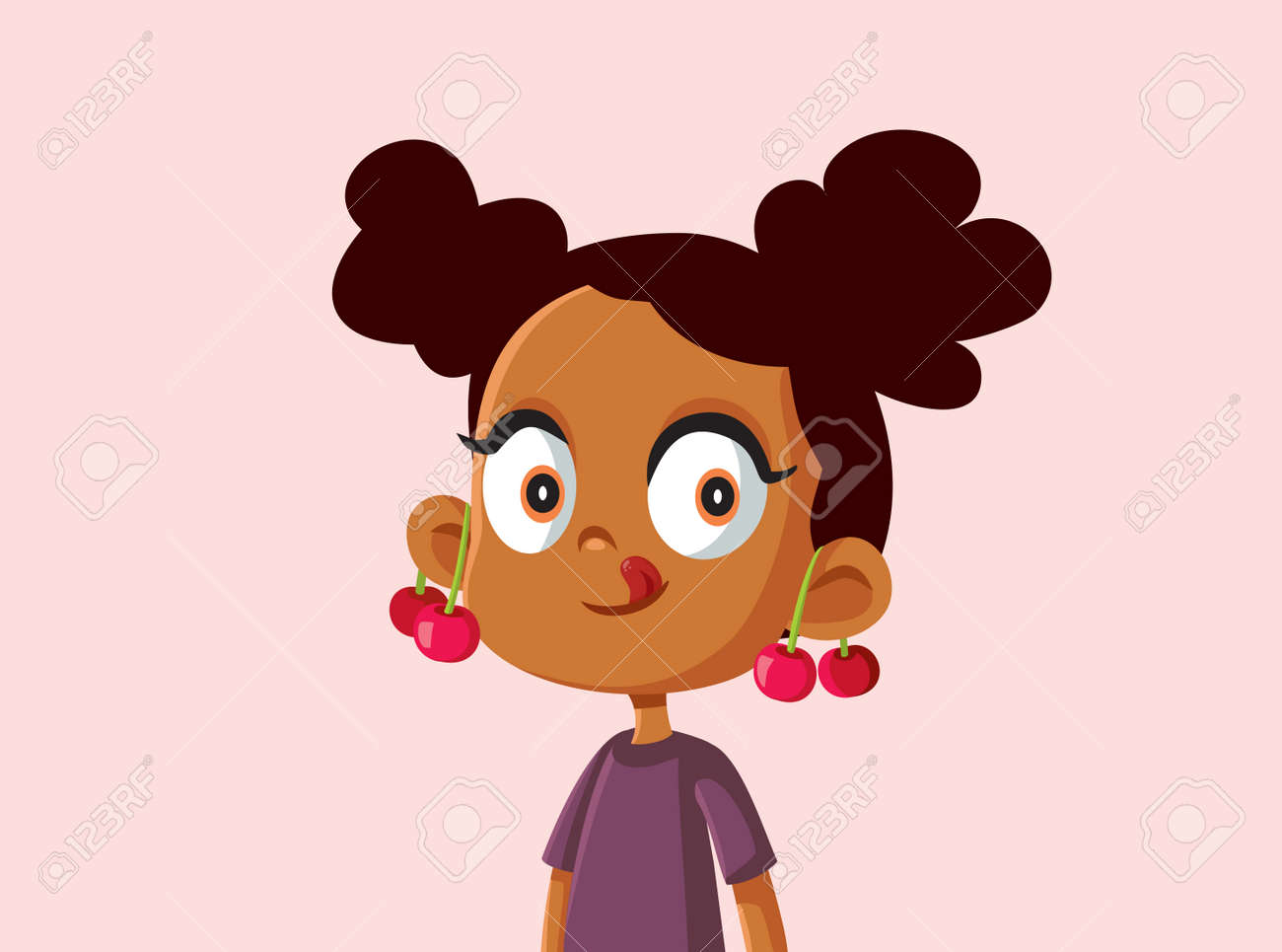 Cute African Girl with Cherries on Her Ears Vector Illustration - 171232948
