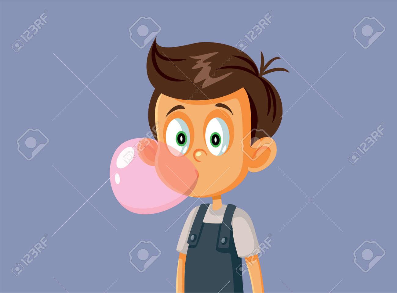 Little Boy Chewing Bubble Gum Vector Illustration - 171232951