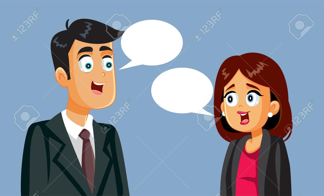 Businessman and Businesswoman Talking Vector Illustration - 171398395