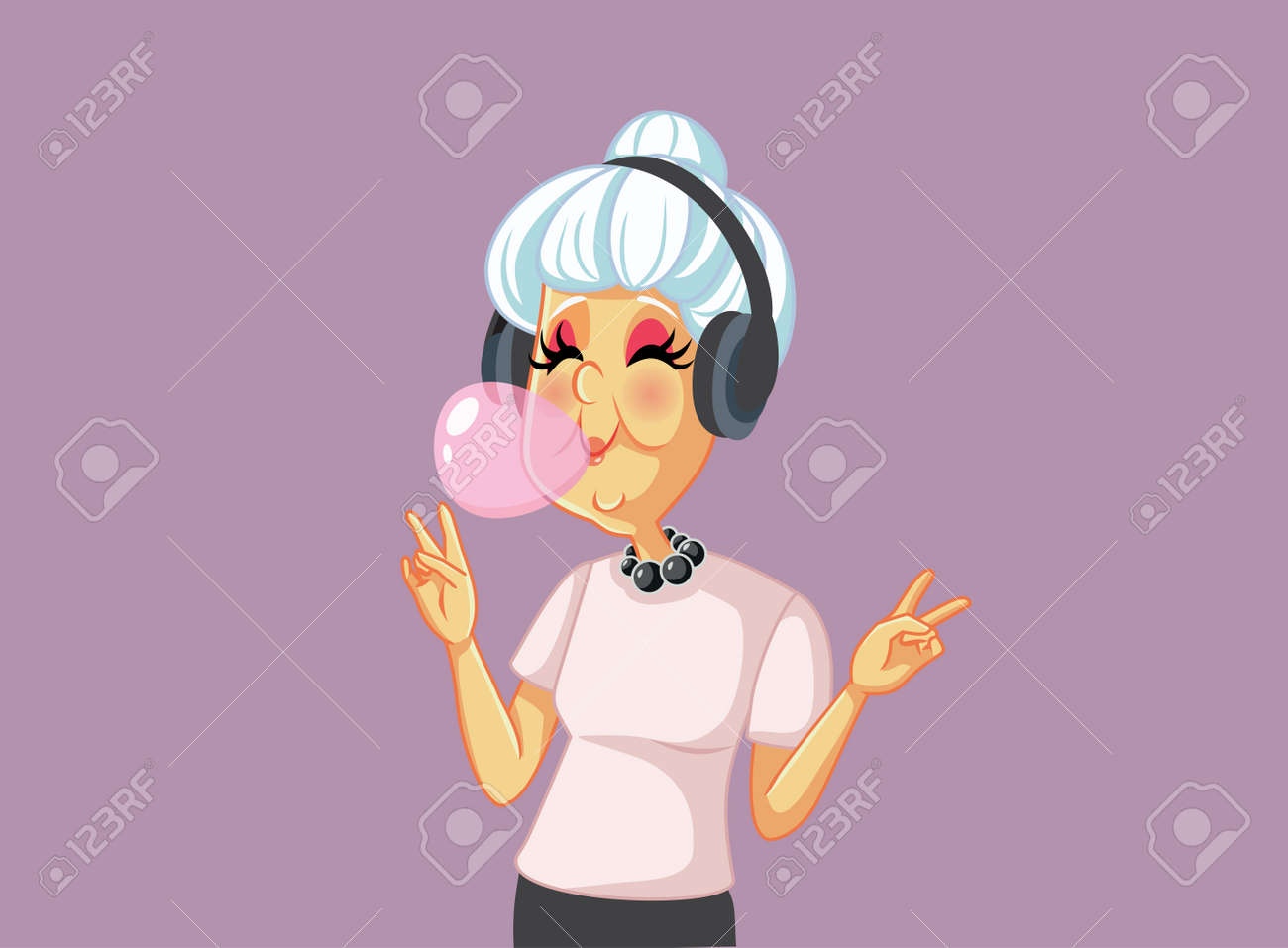 Cool Grandmother Chewing Bubble Gum Listening to Music - 171466232