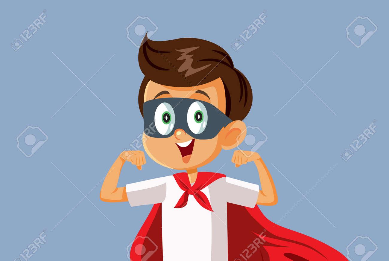 Superhero Little Boy Vector Cartoon Illustration - 171466244