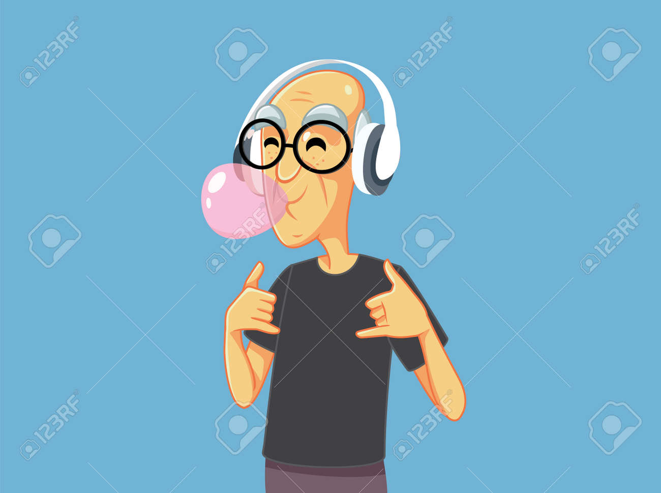 Cool Grandpa Chewing Bubble Gum Listening to Music - 171466248