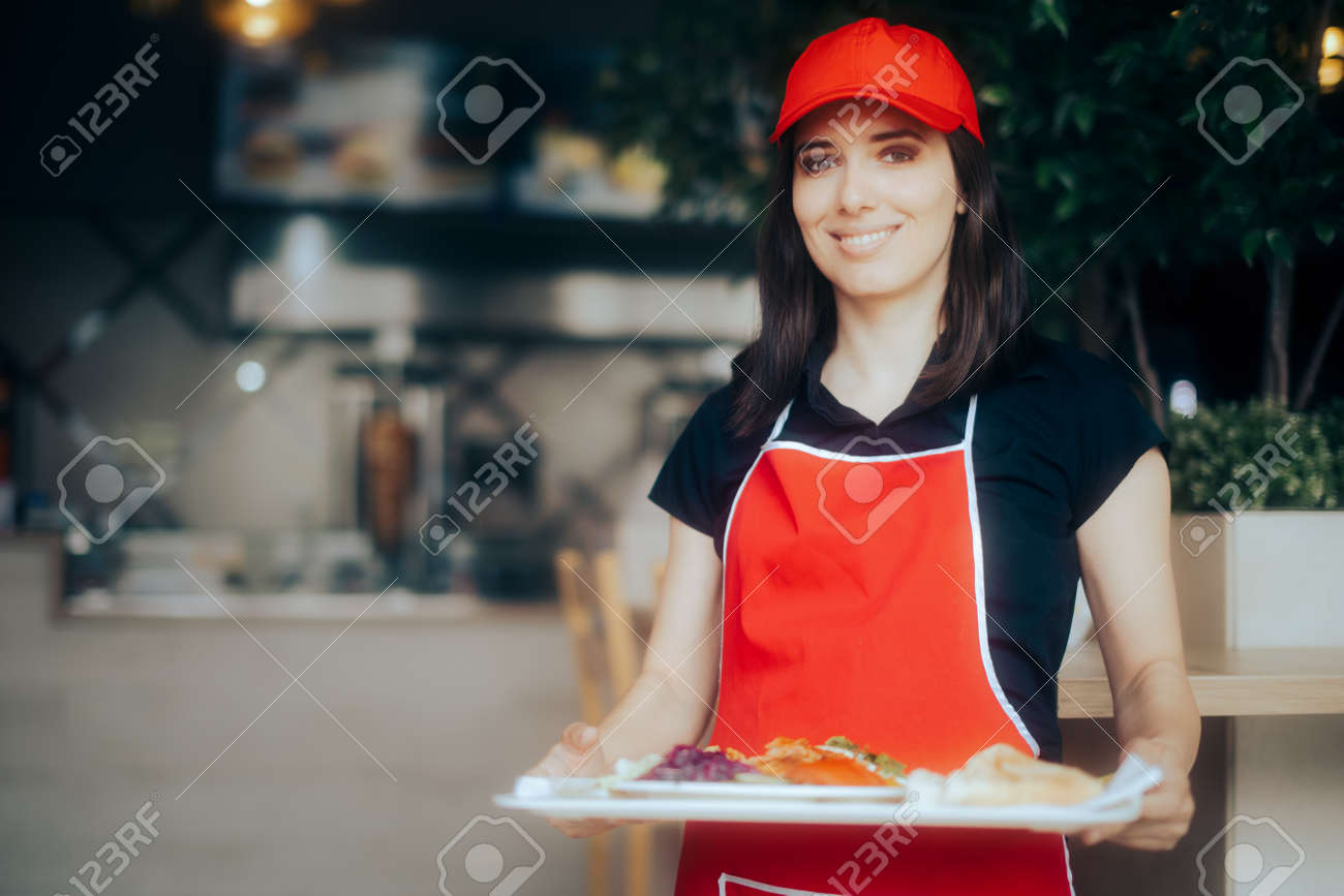 Happy Waitress Holding Food Tray Working in a Restaurant - 171551747