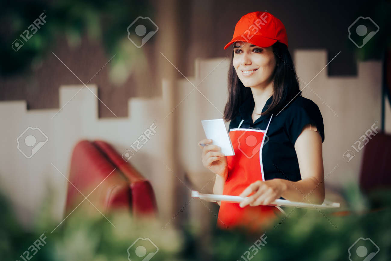 Waitress Holding Empty Tray Taking Orders in a Restaurant - 171551726