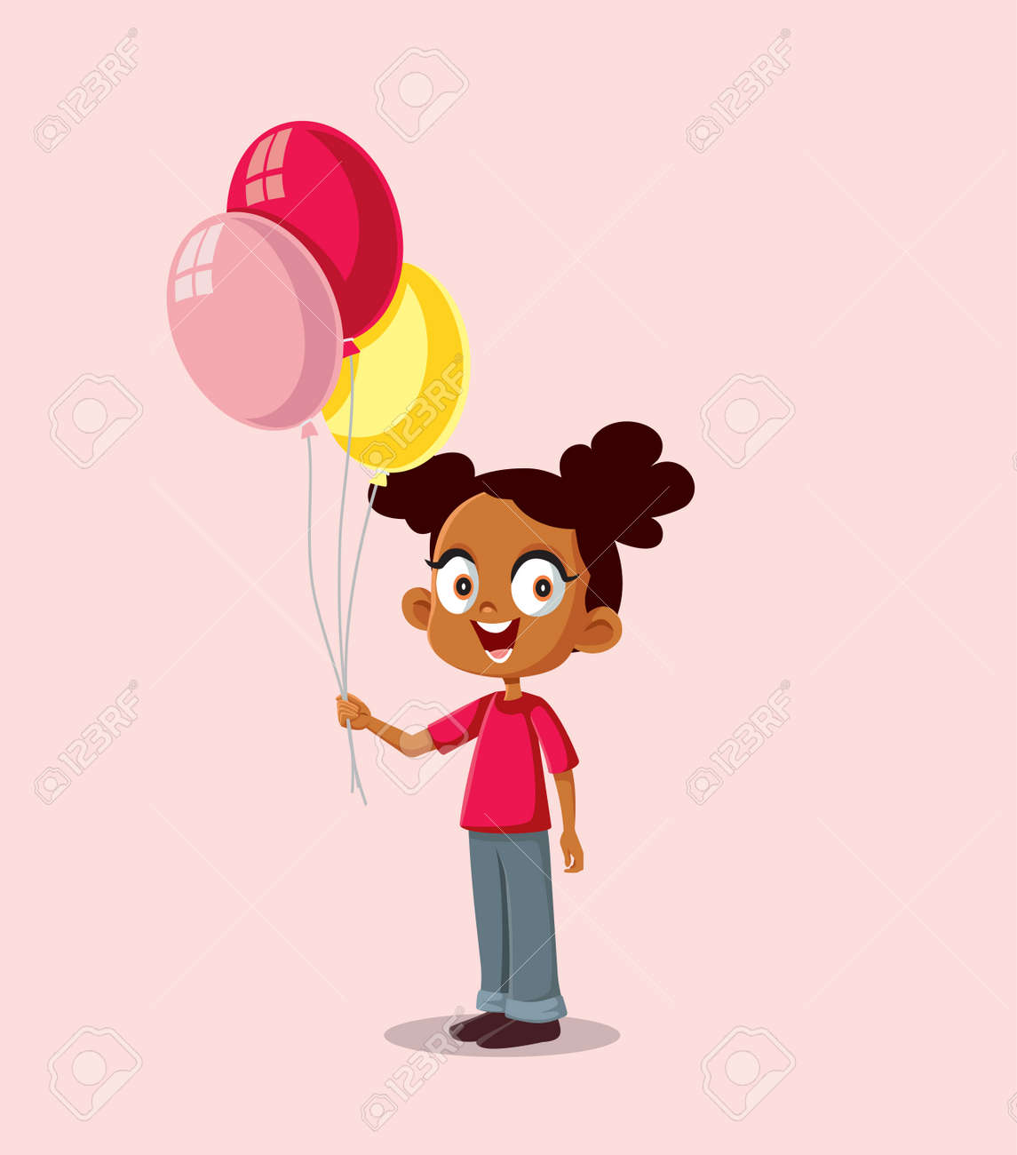 Happy African Girl Holding Balloons Vector Illustration - 171703804