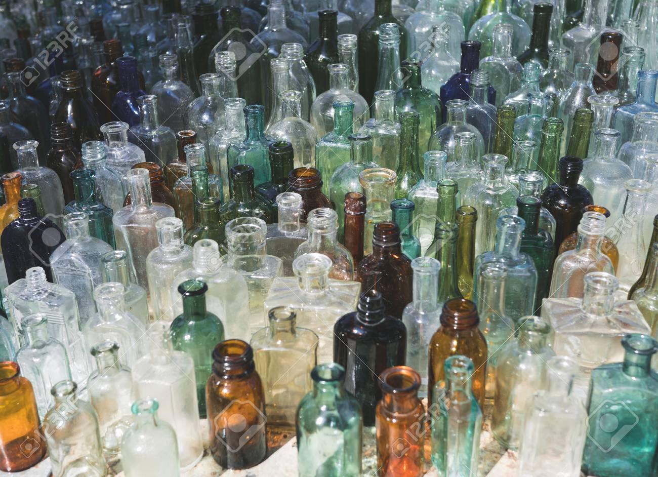 Old Glass Bottles Part - 35: Lots Of Vintage, Old Glass Bottles, Variety Colors, White, Green, Blu