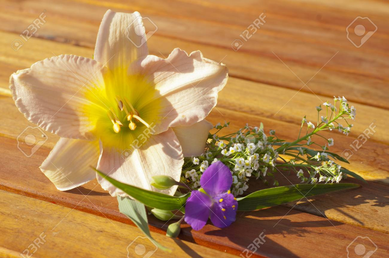 Beautiful Summer Flowers On A Wooden Table Stock Photo Picture And